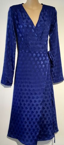 FIND BLUE SHIMMER WRAP MIDI DRESS SIZE 8
